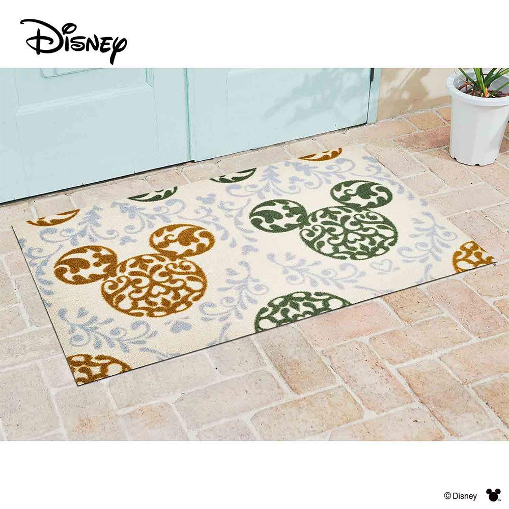 ミッキー/玄関マット ロココ調 75×120cm|Disney(ディズニー) (ア)グリーン