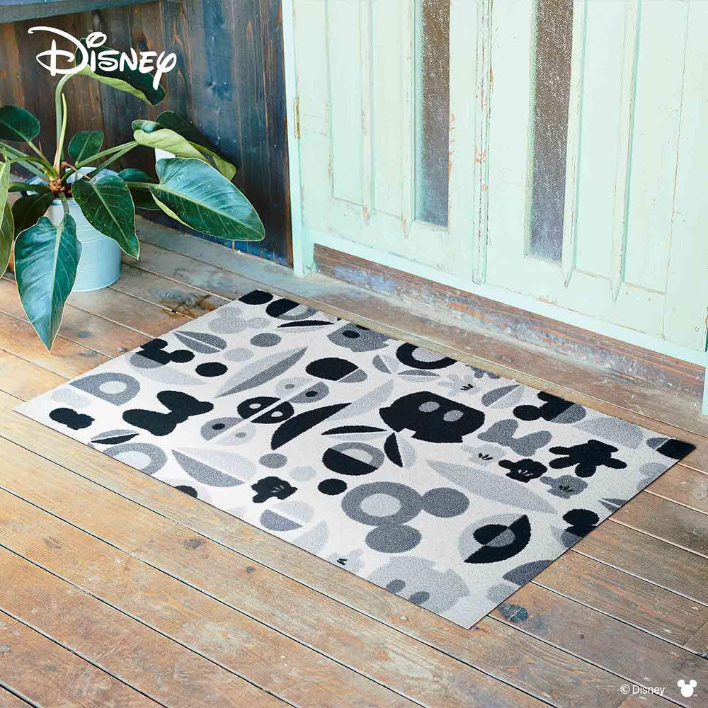 ミッキー&ミニー/玄関マット モチーフ 75×120cm Disney(ディズニー) (イ)グレー