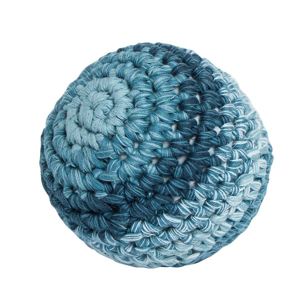 sebra(セバ)/ボールの手編みラトル Lサイズ ベビー おもちゃ (ア)ブルー