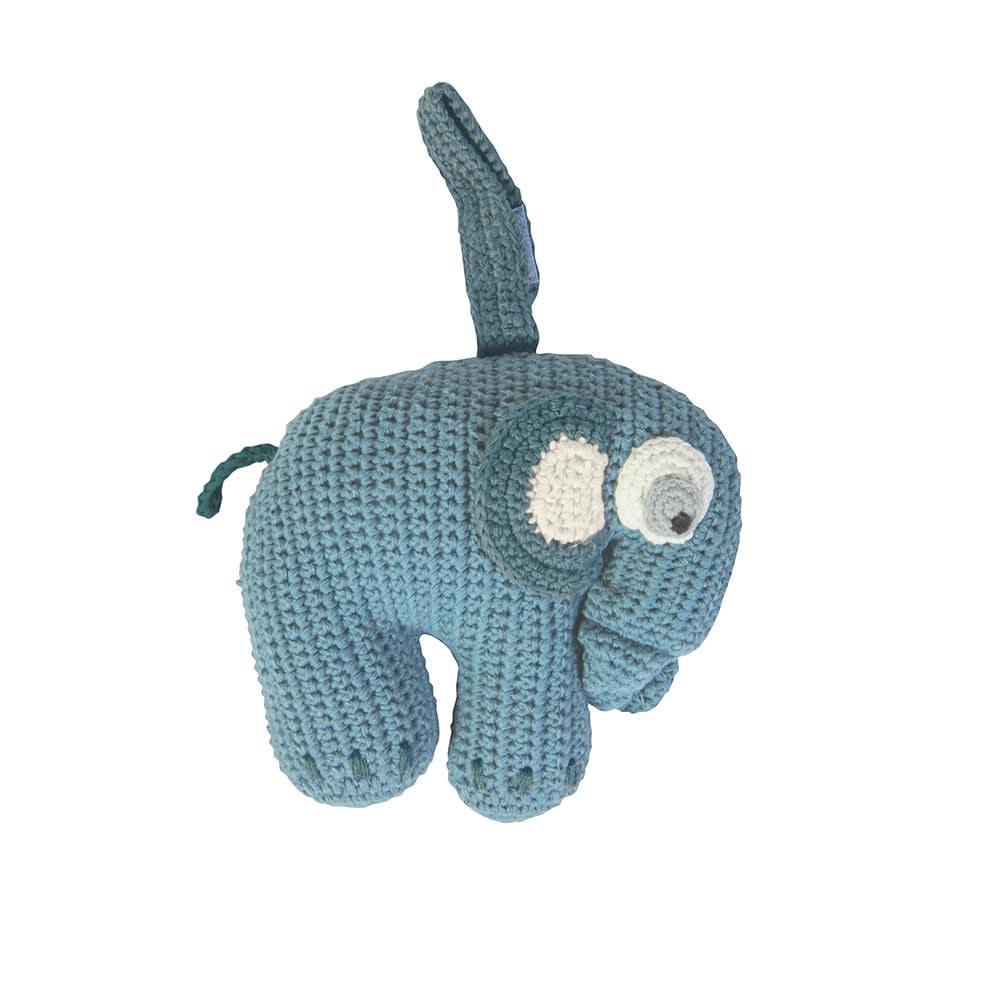sebra(セバ)/ぞうの手編みベビーオルゴール (イ)ブルー