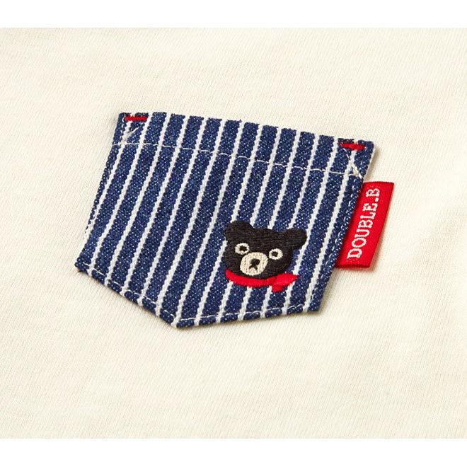 miki HOUSE(ミキハウス)/ダブルB 長袖Tシャツ (ウ)ホワイト/デニムポケット付き