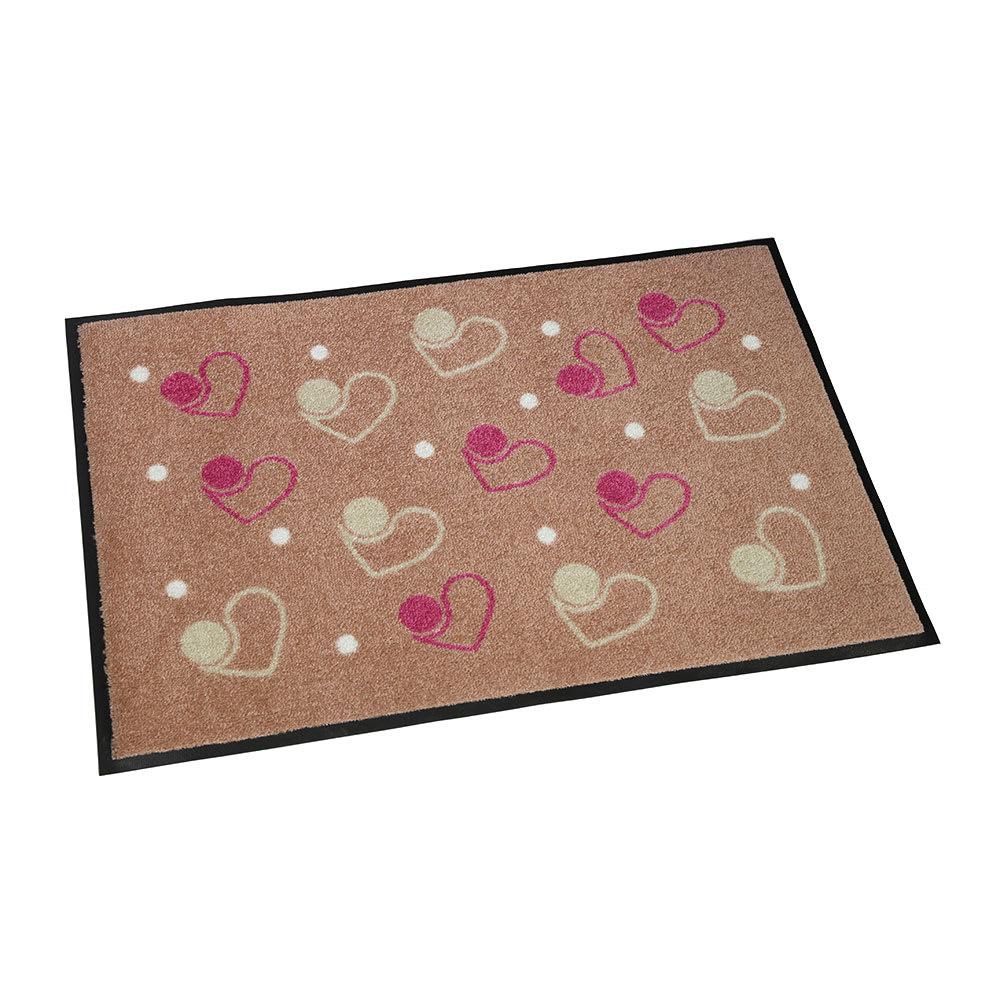 Japan Hearts(ジャパンハート)/ハートフルハート 玄関マット|エントランスマット|屋内外兼用 (イ)ピンク