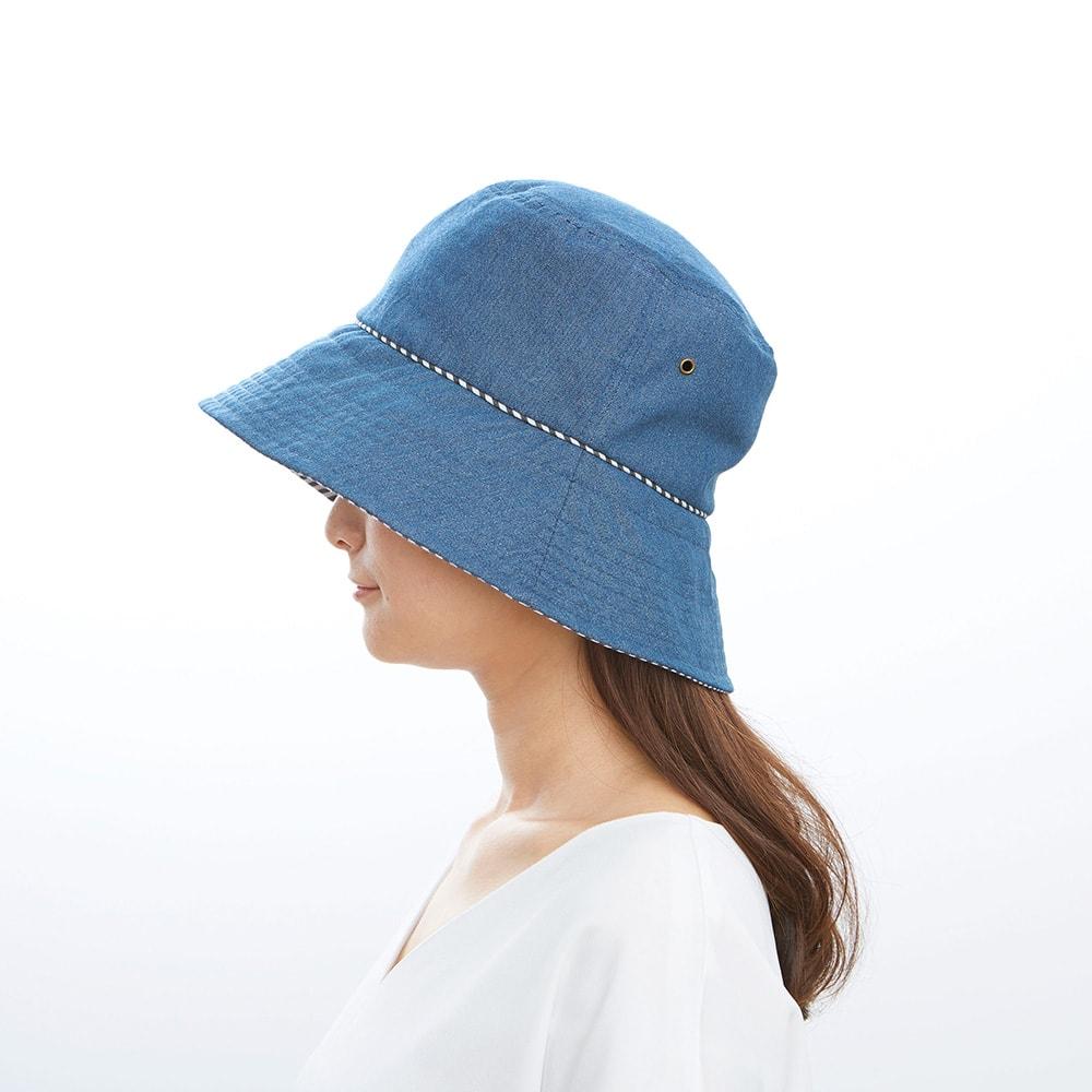 UVデニムハット/髪型ふんわりハット (イ)ブルー