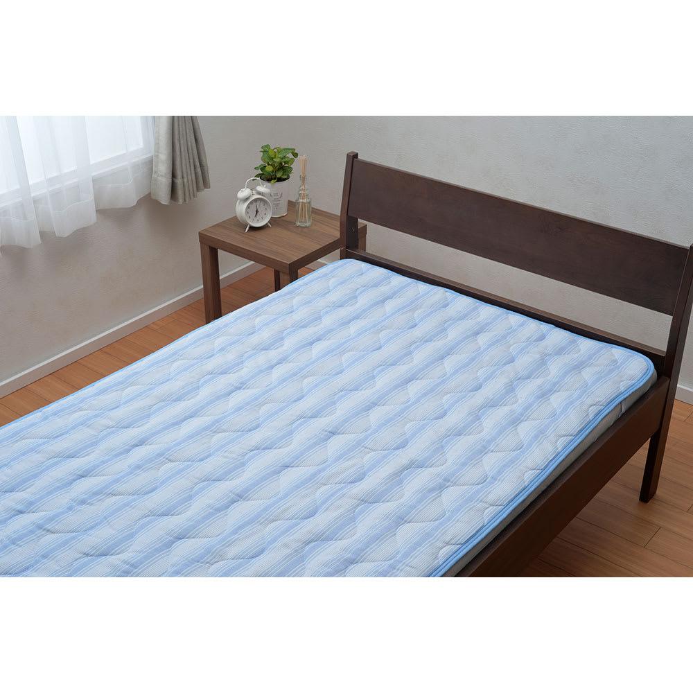 京都西川/抗菌防臭生地使用敷きパッド (イ)ブルー