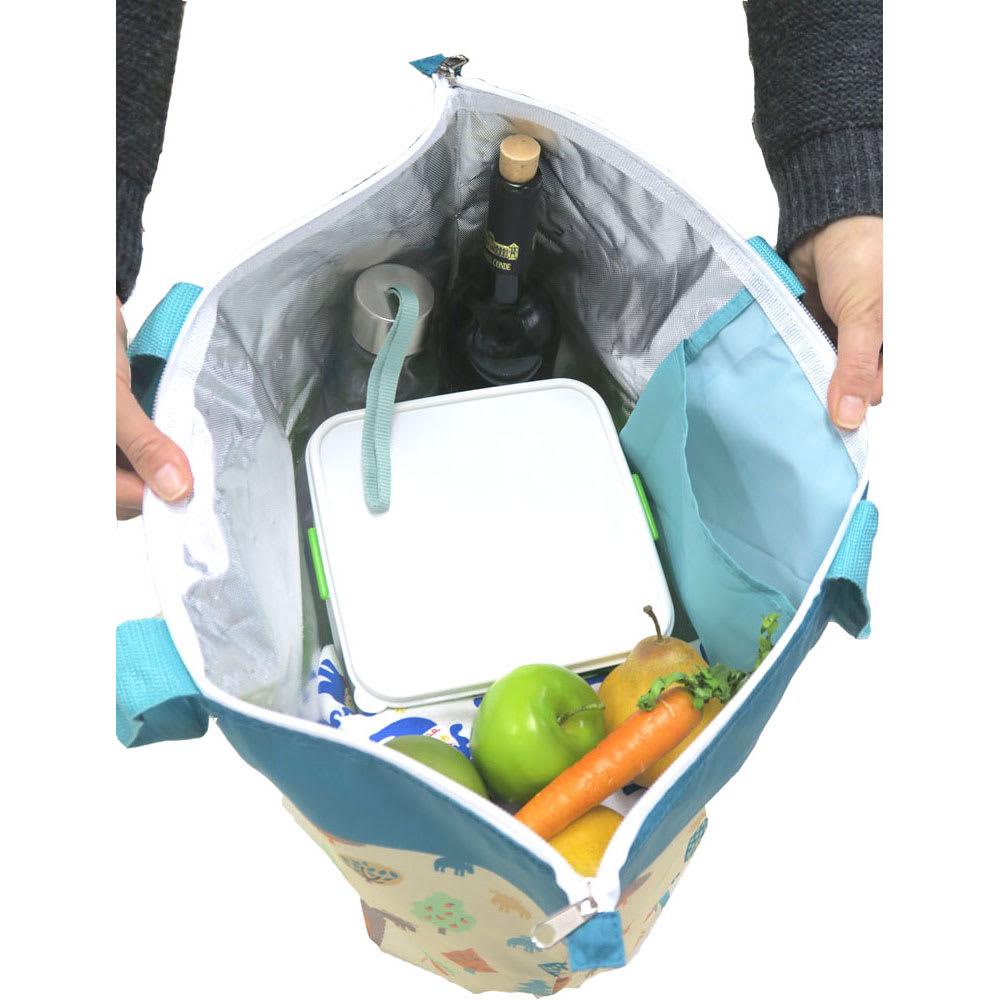 moz(モズ)/保冷機能付きショッピングトートバッグ エルク 大容量。マチも広く使い勝手も抜群。