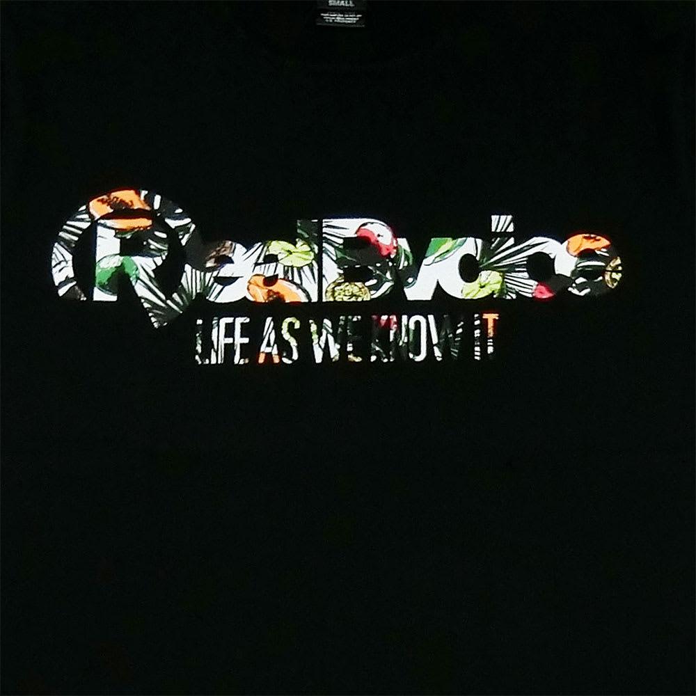 RealBvoice(リアルビーボイス)/フルーツ メンズTシャツ (イ)ブラックフルーツ/Frontプリント