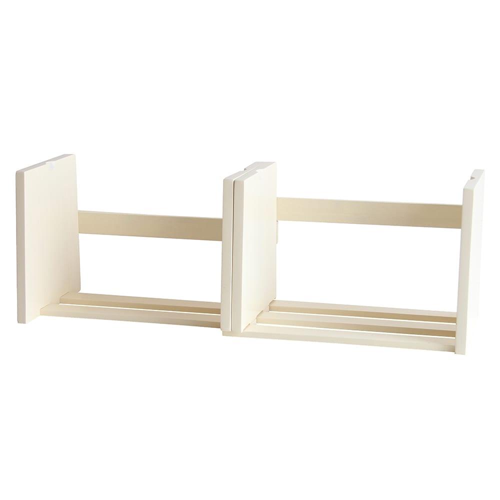 スライド伸長式 天然木ブックスタンド (ア)ホワイト