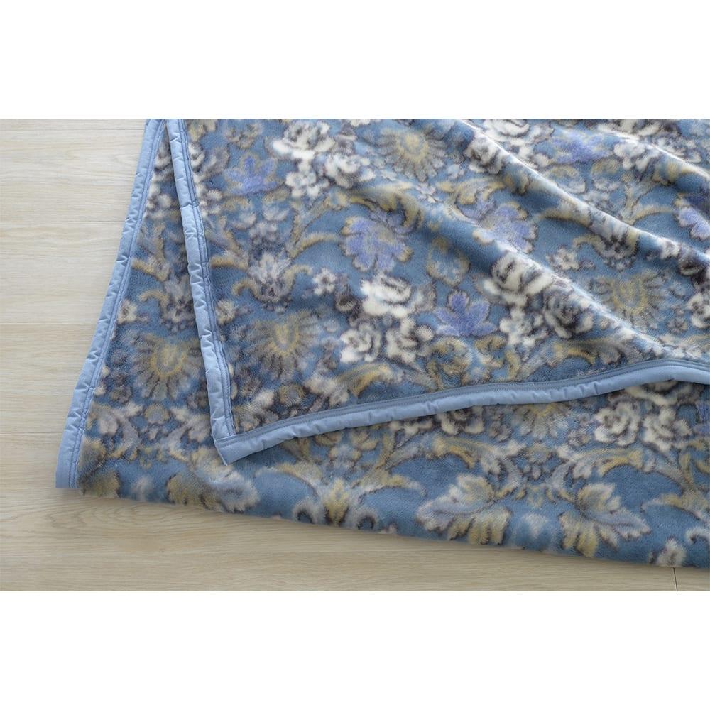京都西川/日本製細番手アクリル糸使用ニューマイヤー毛布 (イ)ネイビー