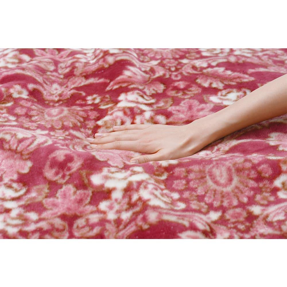 京都西川/日本製細番手アクリル糸使用ニューマイヤー毛布 (ア)レッド系