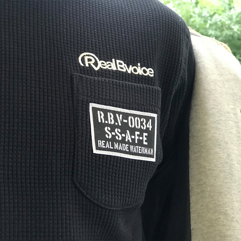 RealBvoice(リアルビーボイス)/ヘビーサーマル パーカー ロングTシャツ (イ)ブラック