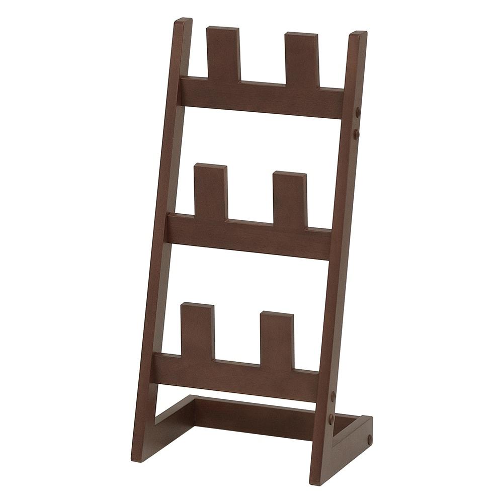 天然木素材のスリッパラック3段 (イ)ブラウン