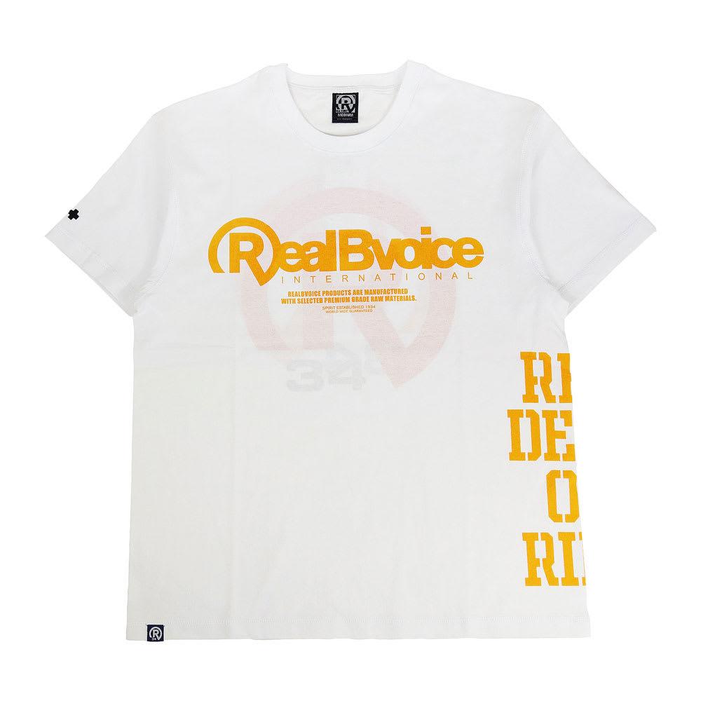 RealBvoice(リアルビーボイス)/リバースプリント Tシャツ (イ)ホワイト/オレンジ、表面はイエローの定番ロゴ