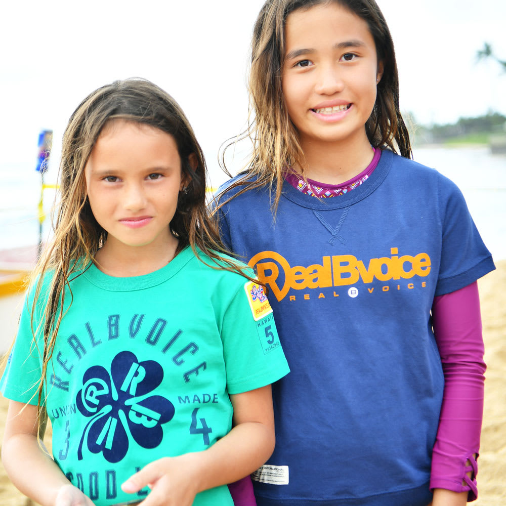 RealBvoice(リアルビーボイス)/キッズ ヘビーウェスト リブ Tシャツ RBV(130-160cm) 左側:NV4456:クローバー柄Tシャツ