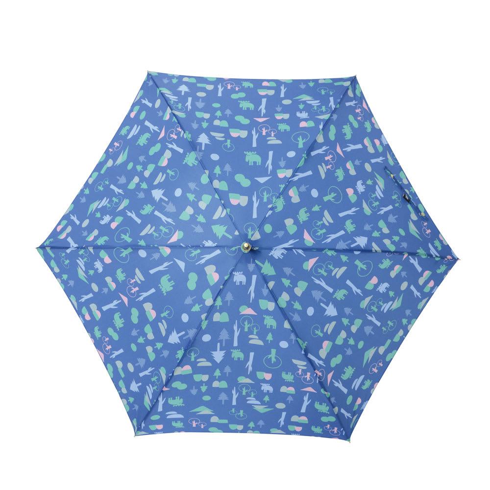 moz(モズ)/UVカットスリムジャンプ傘 フォレストデザイン (イ)フォレストブルー