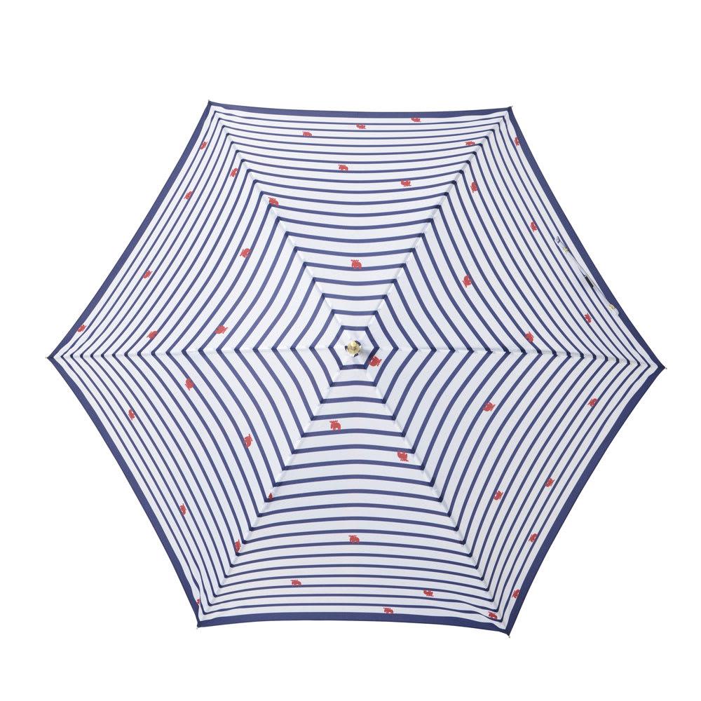 moz(モズ)/UVカットスリムジャンプ傘 ボーダー柄にエルクデザイン (ウ)ボーダーブルー