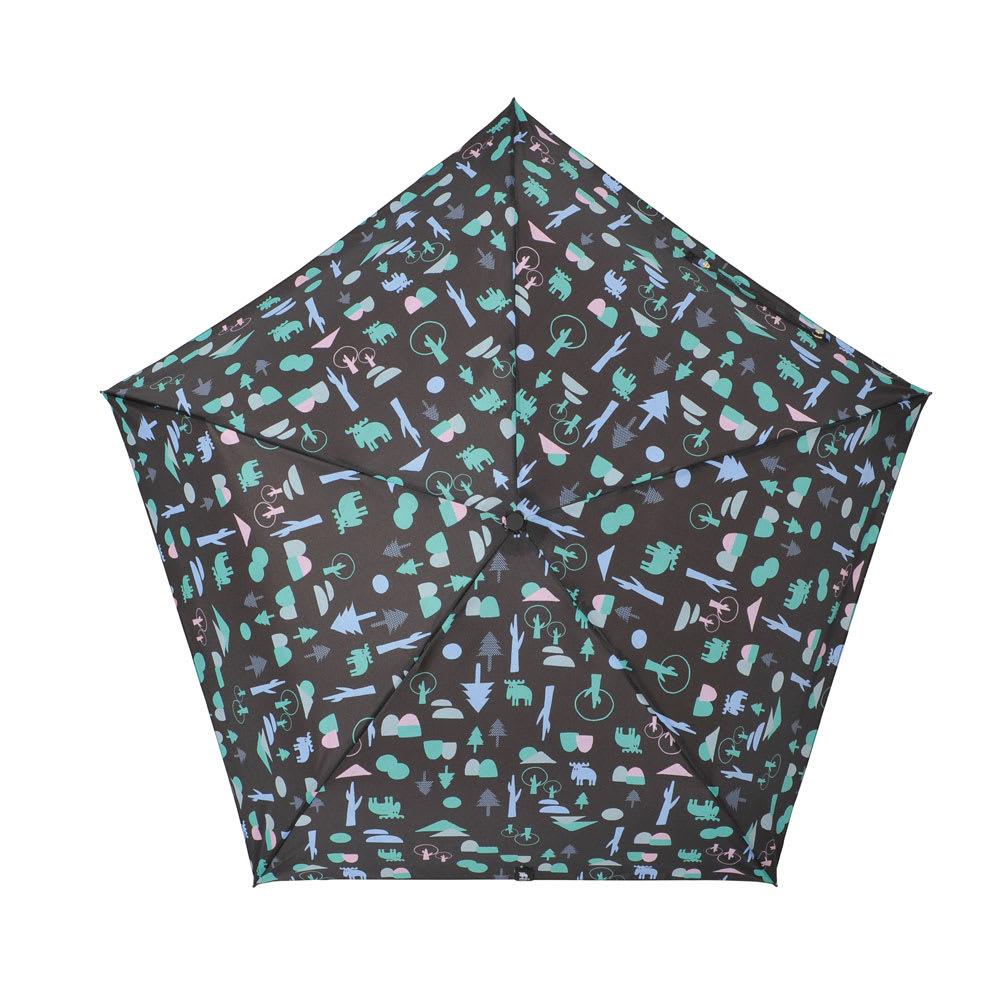 moz(モズ)/UVカット折り畳み傘 フォレストデザイン (ウ)フォレストブラック