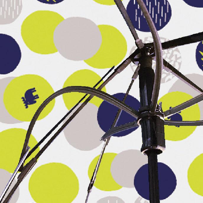 moz(モズ)/UVカット折り畳み傘 エルクと水玉 受骨がしなって風の衝撃に耐える、丈夫な構造になっています