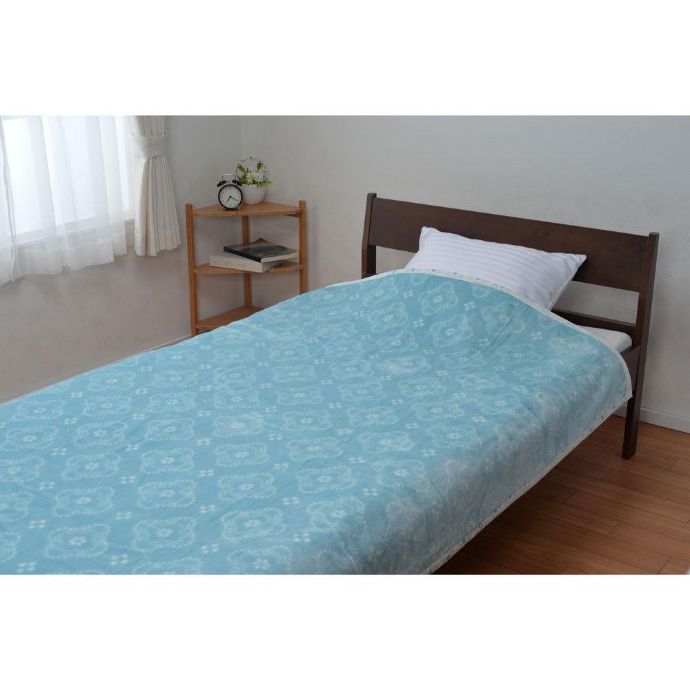 西川京都/日本製一重毛布 いろは小紋柄 (イ)ブルー