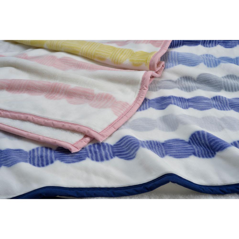 西川京都/日本製一重毛布 まるつなぎ柄