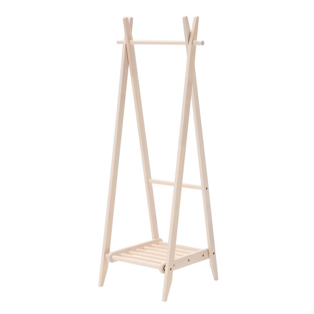 木製折りたたみ式ハンガーラック (ア)ホワイト