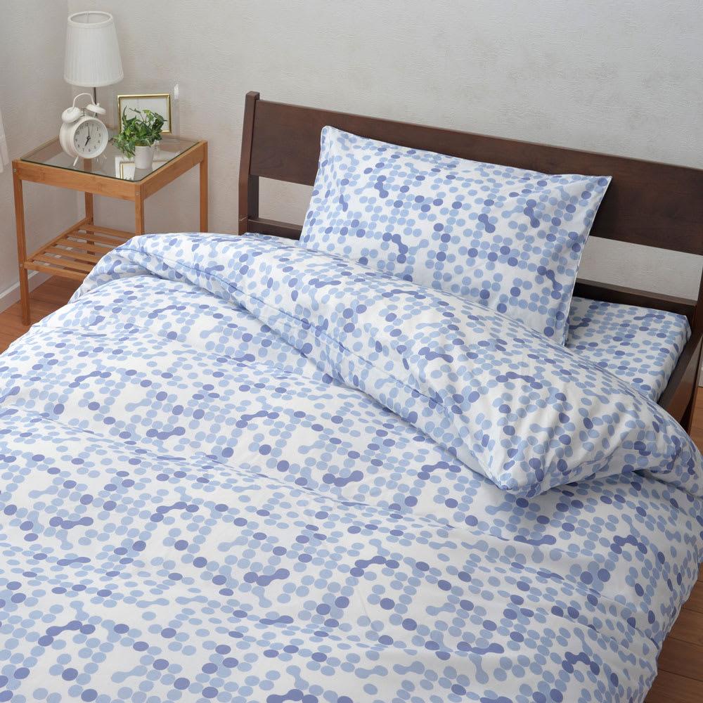 西川京都/P&G「ファブリーズ」消臭抗菌敷きカバー ドット柄 (イ)ブルー※掛けカバー(NV5176)、ピローケース(NV5178)は別売りです