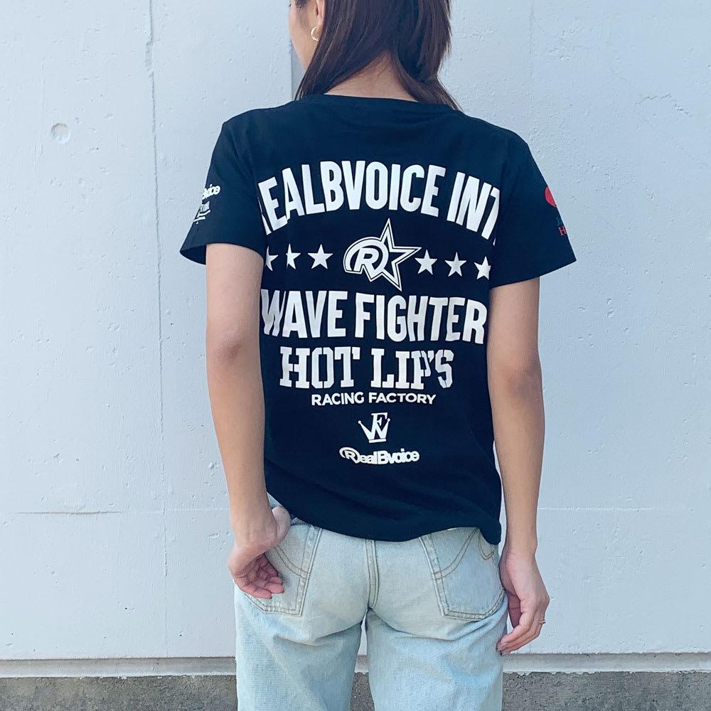 RealBvoice(リアルビーボイス)/ジャパンハート ウェーブファイターレディスTシャツ モデル着用…(ア)ブラック