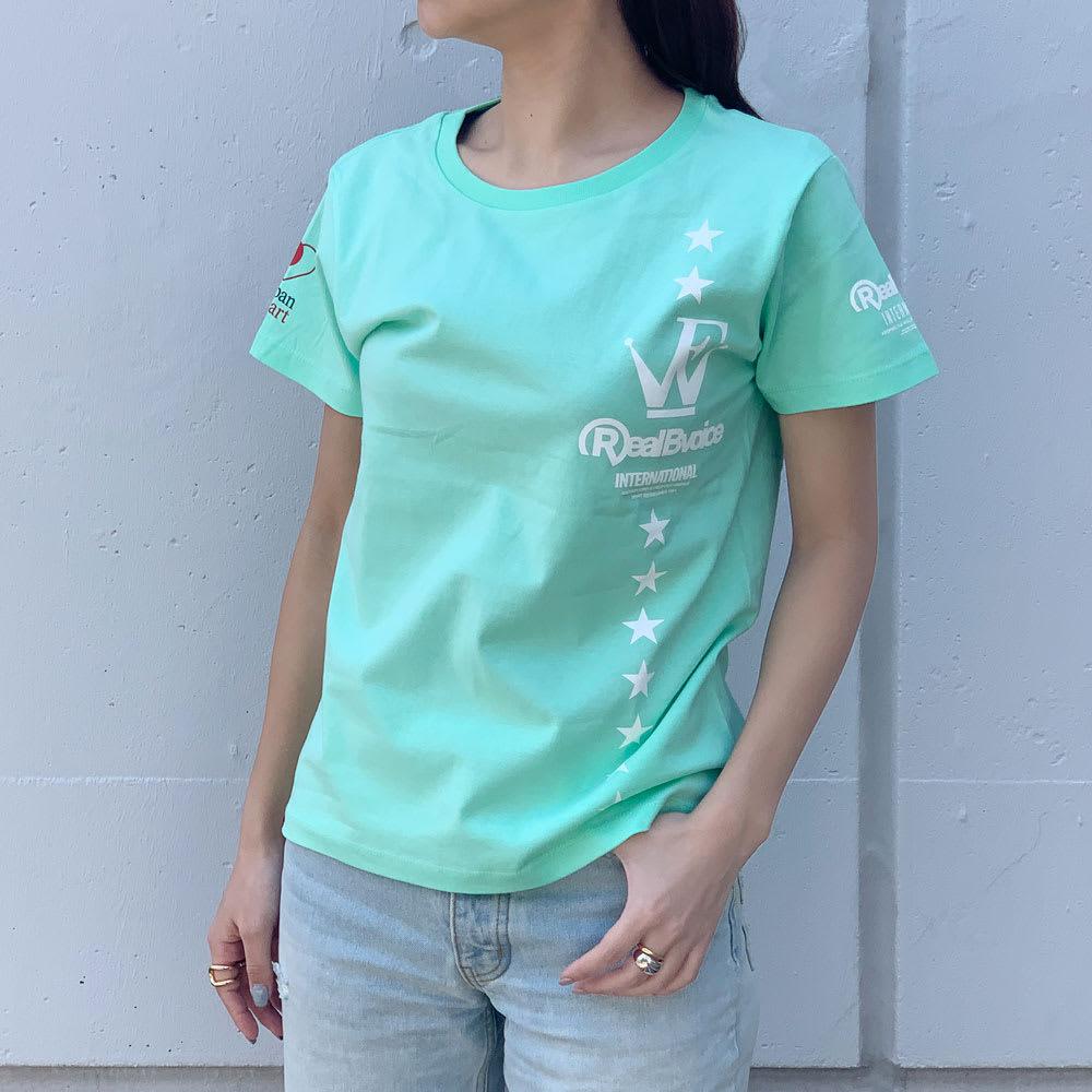 RealBvoice(リアルビーボイス)/ジャパンハート ウェーブファイターレディスTシャツ モデル着用…(イ)ライトグリーン