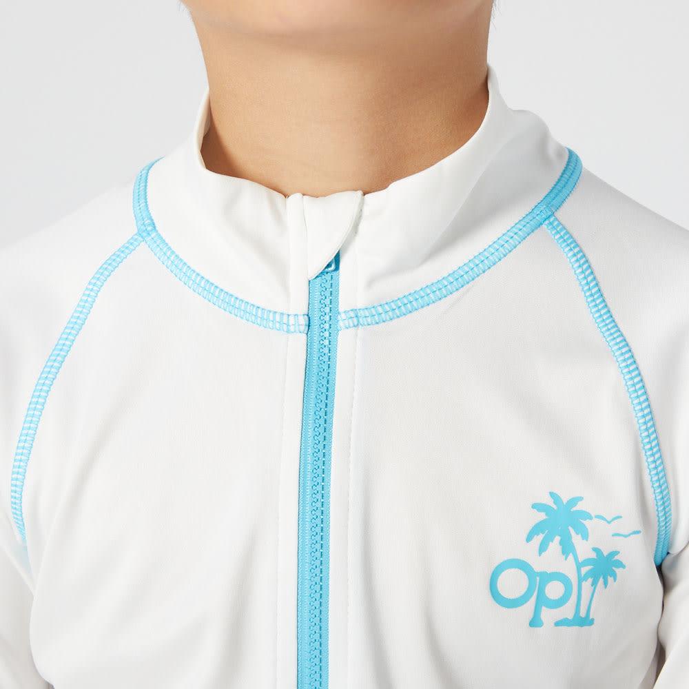 OP(オーシャンパシフィック)/ワンポイントロゴデザイン キッズラッシュガード (ア)ホワイト
