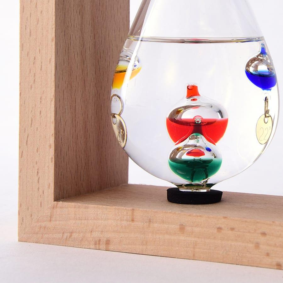 温度計&ストームグラス 気温によって上下するガラスの球体で気温を示します