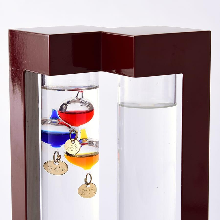 温度計&ストームグラス L 気温によって上下するガラスの球体で気温を示します(左:ガリレオ温度計)