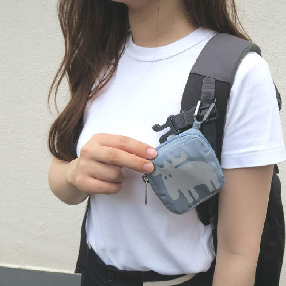 moz(モズ)/ダイカットエコバッグ エコバッグはポーチに入れて、カラビナで他のバッグにひっかけられます