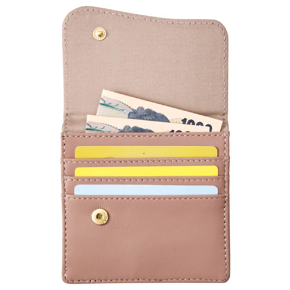COGIT(コジット)/ラムレザーコンパクトスリムカード財布 (イ)モカベージュ