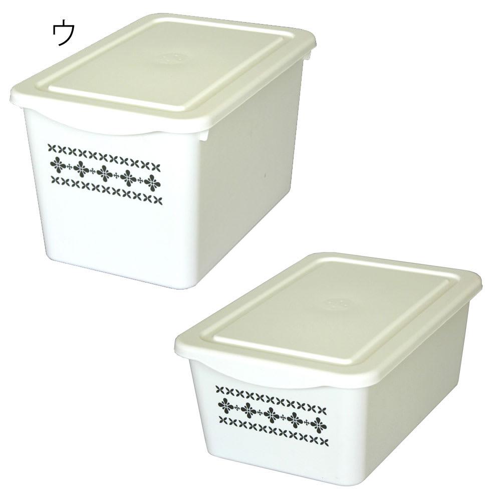 スタッキング収納ケース大小同色2個セット (ウ)ホワイト大小2個セット