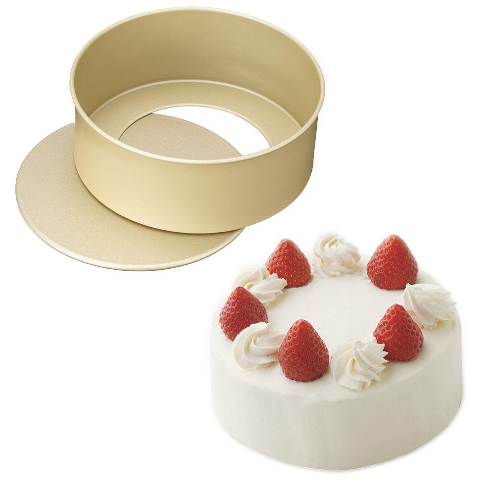 アルミフッ素加工のホールケーキ型 底取れ式 15cm