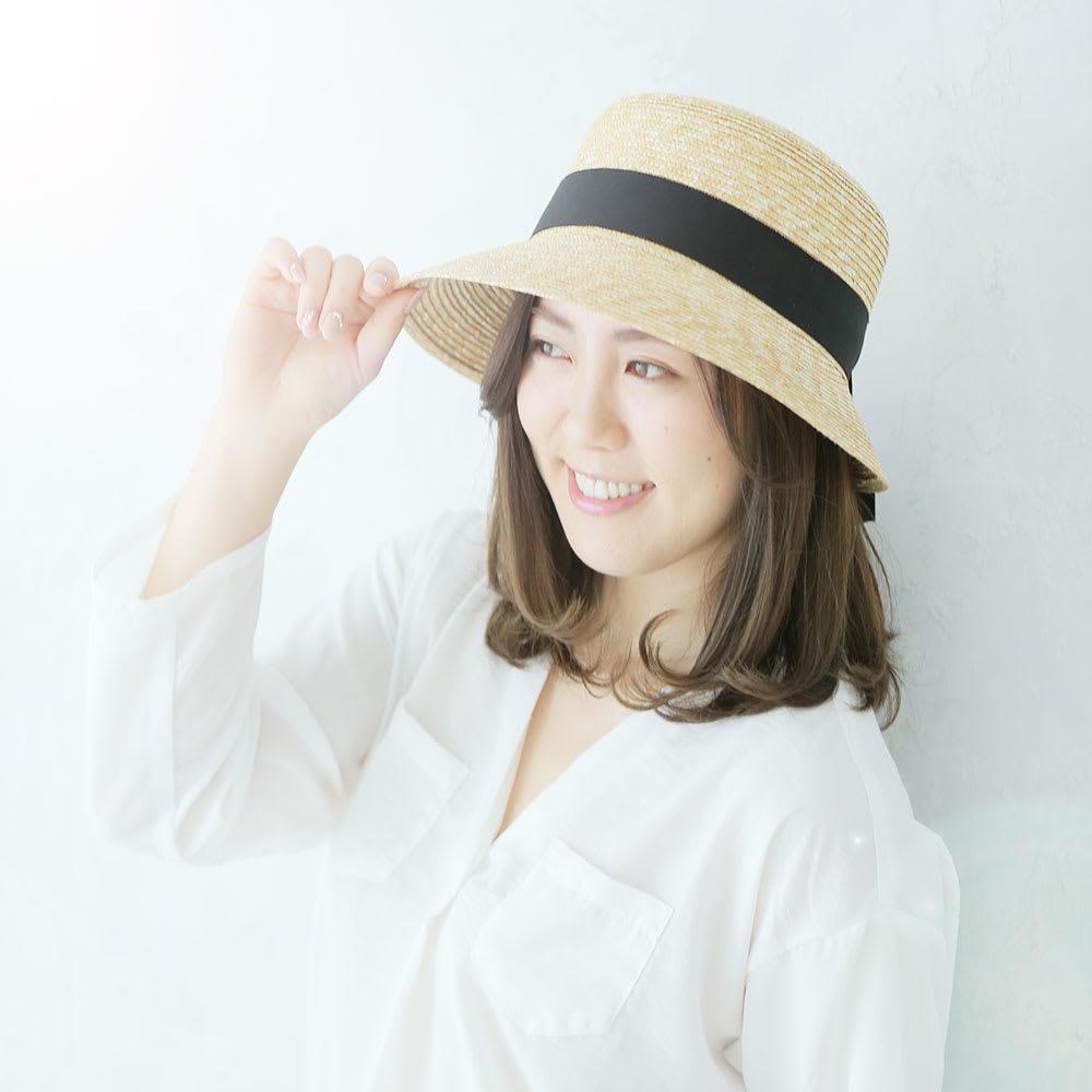 田中帽子店/麦わら帽子 つば短女優帽 レディース