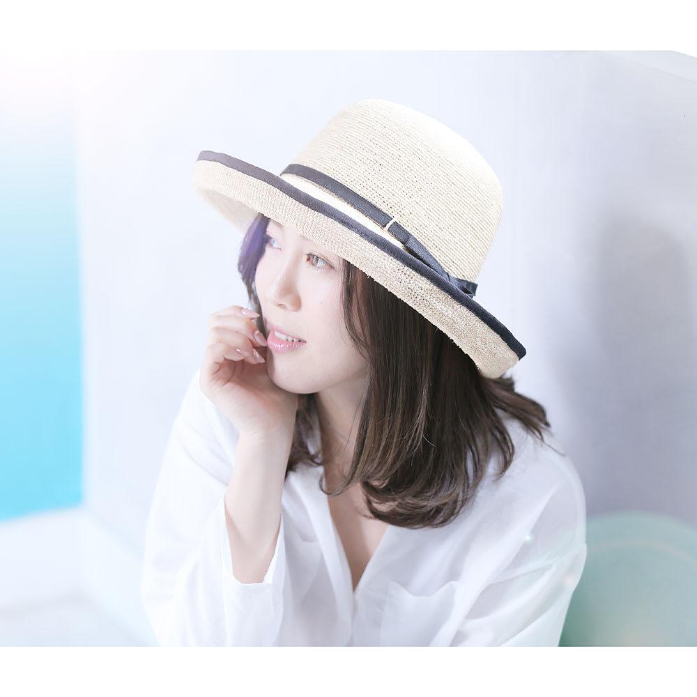 田中帽子店/麦わら帽子 細編ラフィア エッジアップ レディース