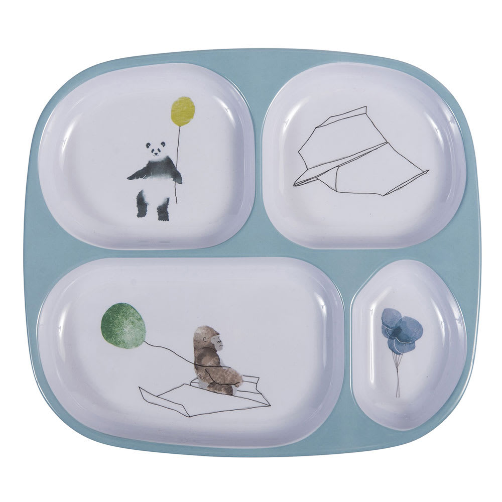 sebra(セバ)/4ルームメラミンプレートスカイ|子供食器 (ア)ブルー