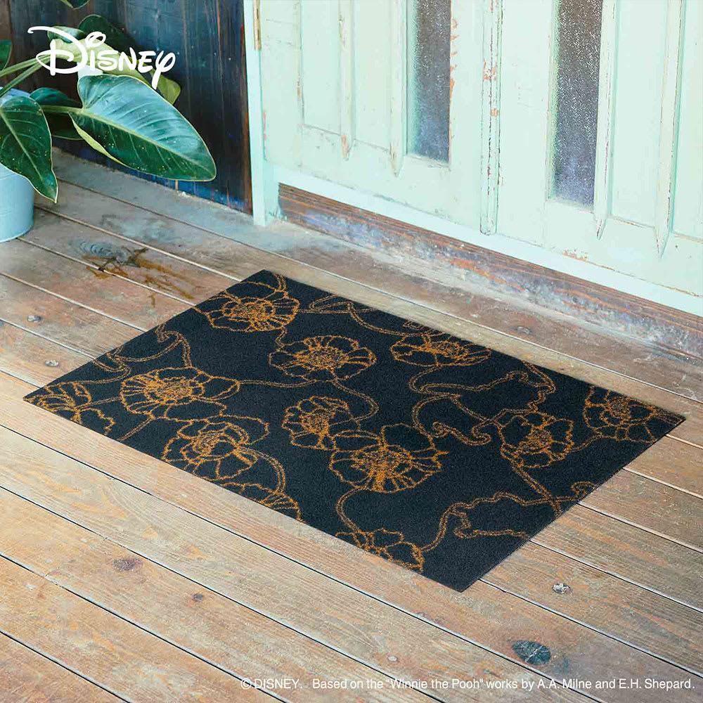 Pooh(くまのプーさん)/玄関マット 60×90cm|Disney(ディズニー) (イ)ブラックアネモネ