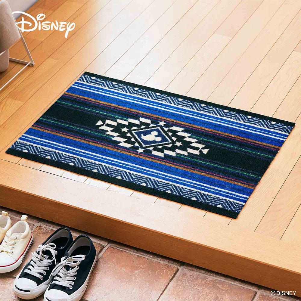 ミッキー/玄関マット キリム 50×75cm|Disney(ディズニー) (ア)ブルー