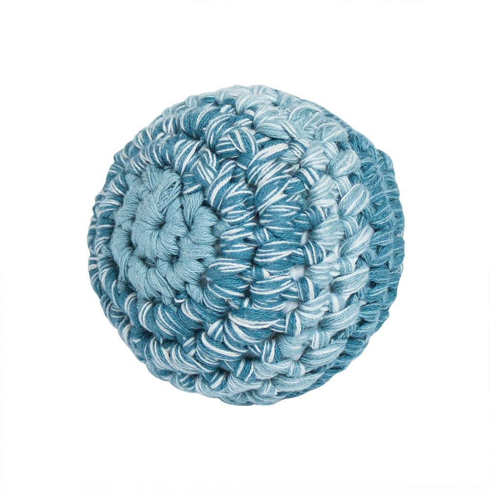 sebra(セバ)/ボールの手編みラトル Sサイズ|ベビー おもちゃ (ア)ブルー