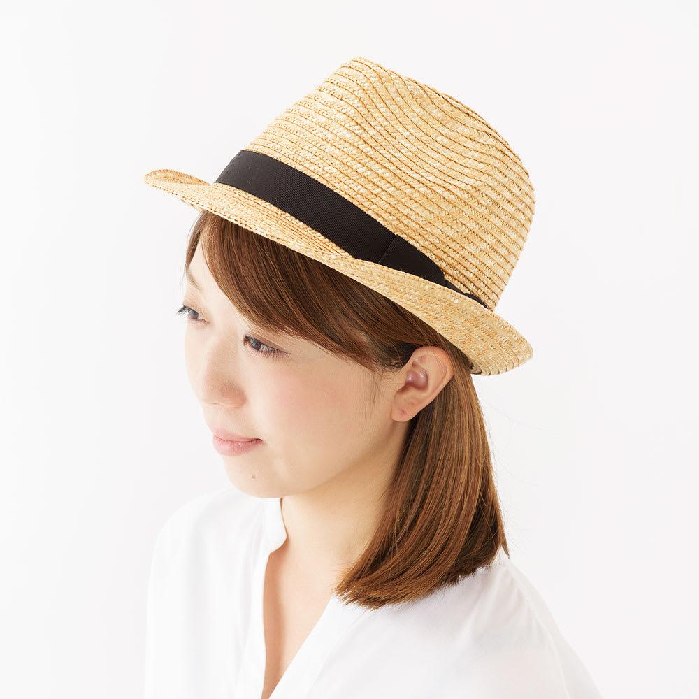 田中帽子店/麦わら帽子 女性用中折れ帽子 ロアン