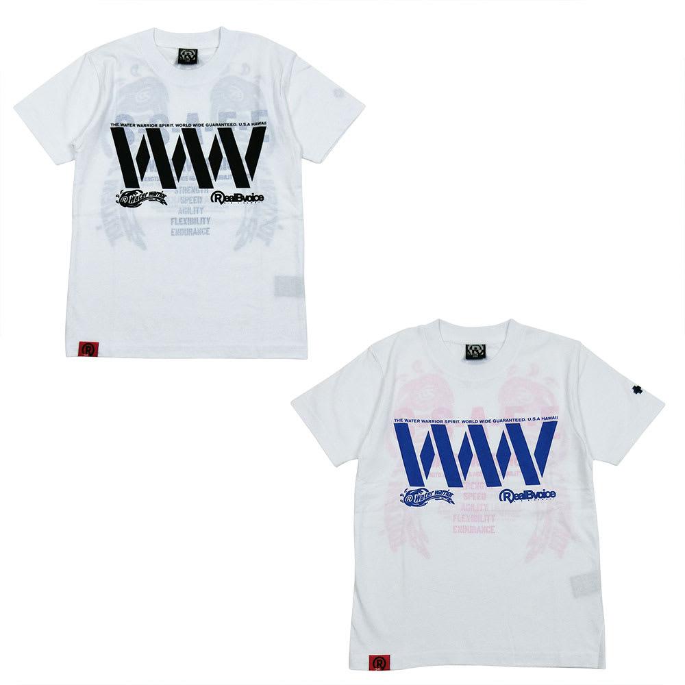 RealBvoice(リアルビーボイス)/キッズ WW透かしTシャツ(130-160cm) (ア)ホワイトサックス、(イ)ホワイトピンク