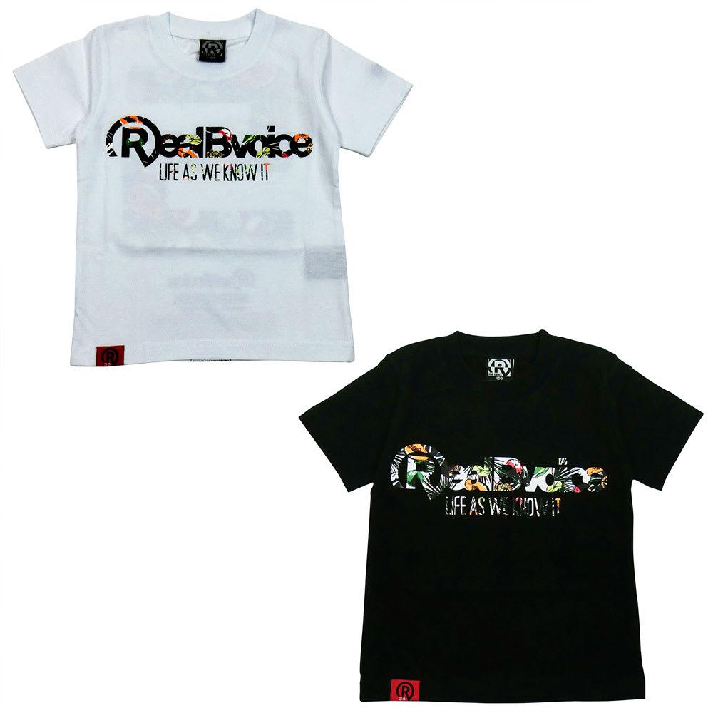 RealBvoice(リアルビーボイス)/キッズ ボタニカル柄Tシャツ(100-160cm) (ア)ホワイト、(イ)ブラック