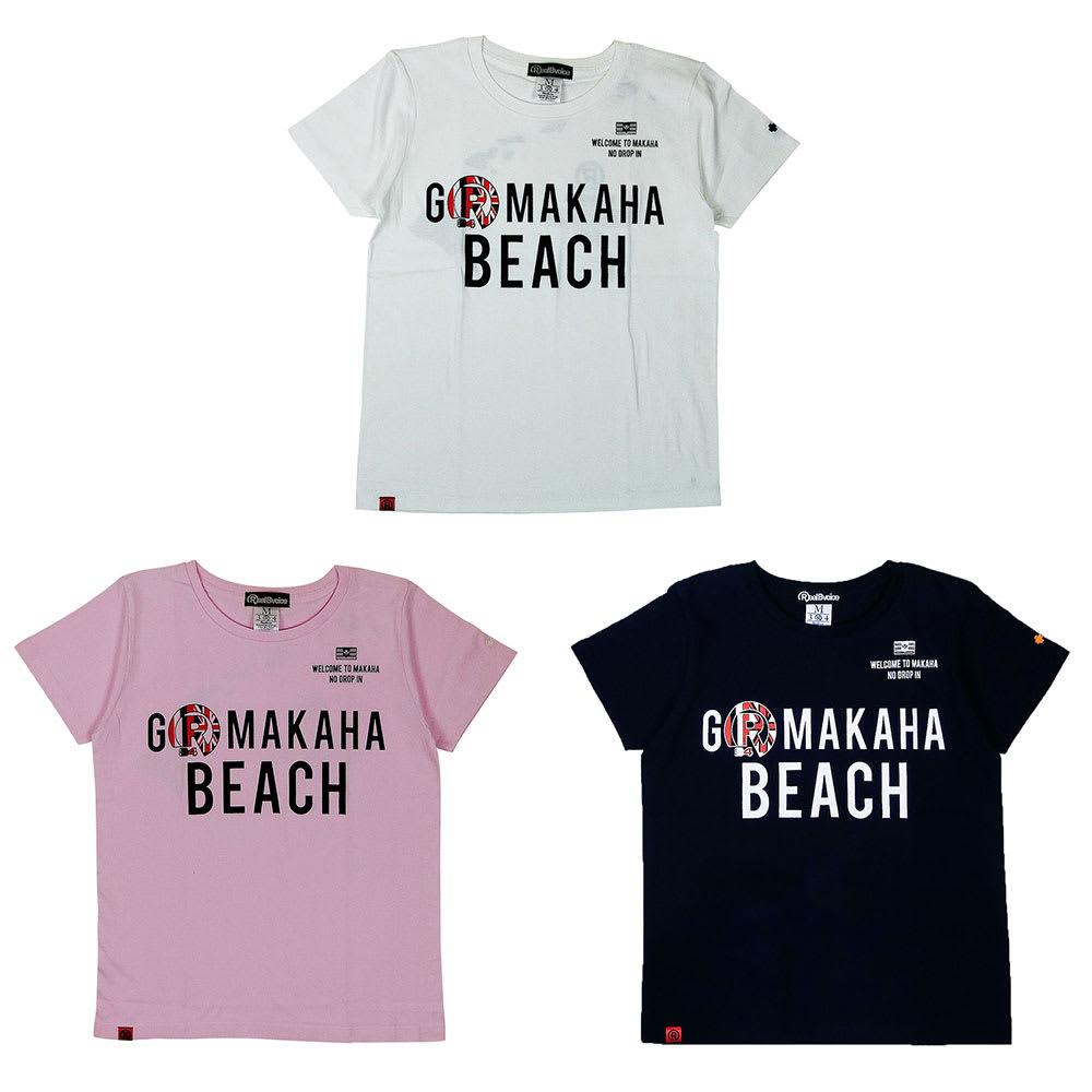 RealBvoice(リアルビーボイス)/ゴーマカハビーチ レディースTシャツ 上から時計回りに(ア)ホワイト、(イ)ネイビー、(ウ)ピンク