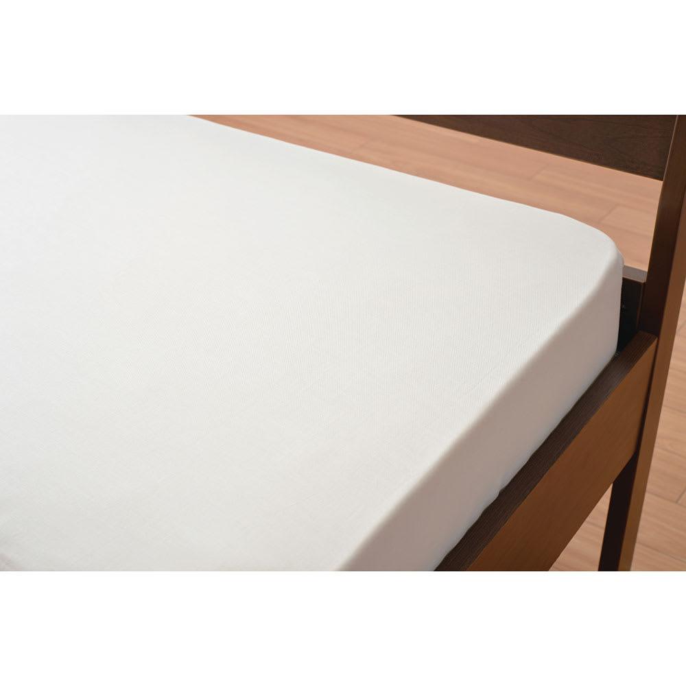 京都西川/ベッド用ボックスシーツ (ウ)アイボリー