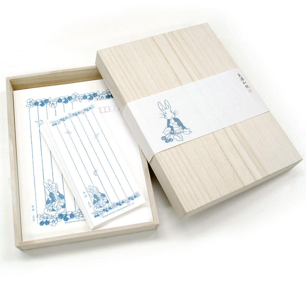 ピーターラビット/美濃和紙 名入れ便箋・一筆箋セット  桐箱入りでギフトにも◎
