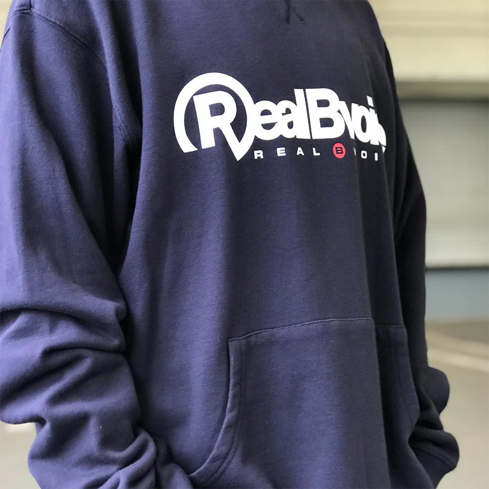 RealBvoice(リアルビーボイス)/ウォッシング サイドポケット スウェットトレーナーネイビーM