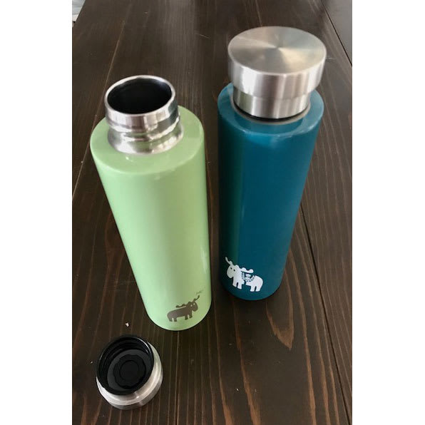 moz(モズ)/ステンレス蓋付きマグボトル 左からライトグリーン、ターコイズ