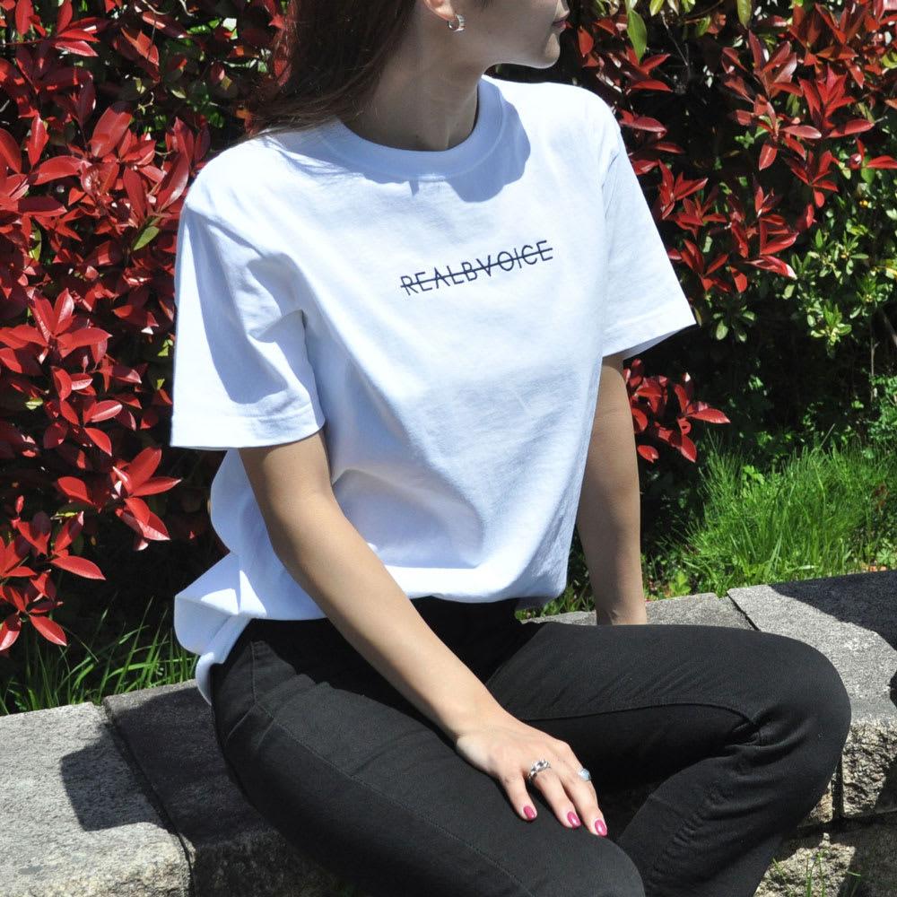 RealBvoice(リアルビーボイス)/ホリゾンタルレディス Tシャツ モデル着用…(ア)ホワイト
