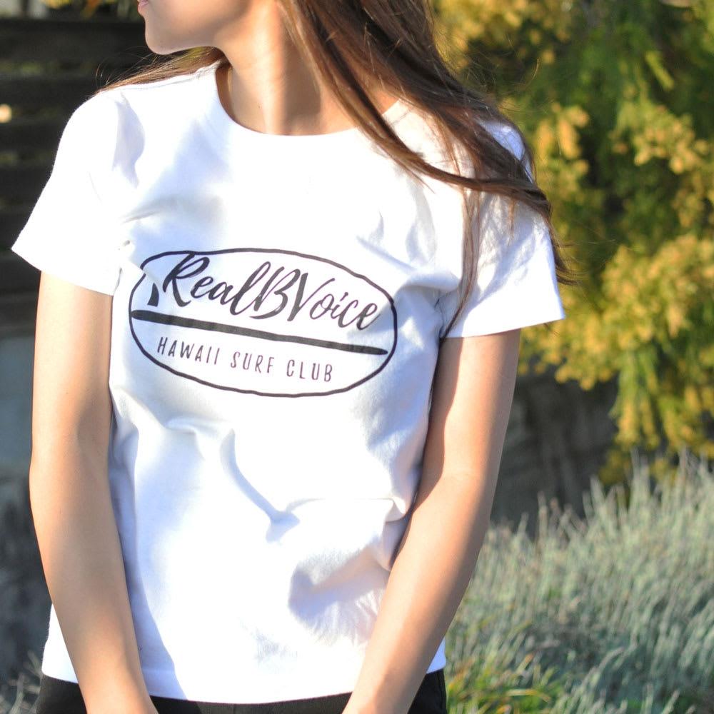 RealBvoice(リアルビーボイス)/サーフボードレディス Tシャツ モデル着用…(ア)ホワイト